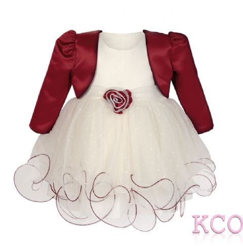 Baby Girls Dress ~ FJD924 Bolero Jacket and Dress Ivory/Burgundy